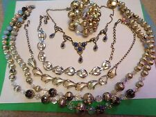Vintage LOT of 4 Rhinestone Crystal Marcasite Beaded  Necklaces Repair Crafts