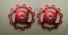 2 Anodised Sealed Bearing 11T Pulley Jockey Wheels Shimano Sram XX XO X9 X7 red