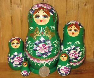 Russian Nesting Doll MATRYOSHKA Babushka 5 GREEN flowers NIKITINA