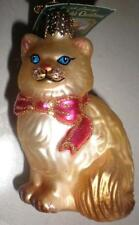 Tan Points-Tail Himalayan Kitty Cat Old World Christmas Glass Ornament Nwt 12089