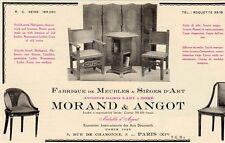 MORAND & ANGOT FABRIQUE MEUBLES SIEGES ART PARIS PUBLICITE PUB 1929 FRENCH AD