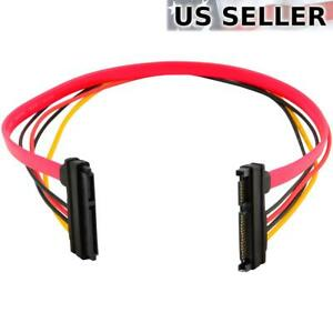 "15+7 Pin SATA HDD Extension Cable Data & Power Male to Female, 19"" / 50cm"