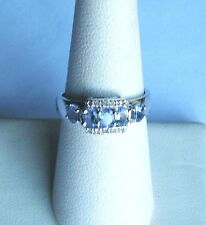 .925 Sterling Silver, Blue Oval 5 Stone TANZANITE/Diamond Accent Ring, Size 7