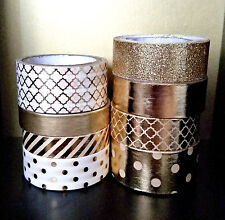 8 Pc. Gold Tones, Polka Dots, Stripes, Glitter, Foil Crafting Washi Tapes