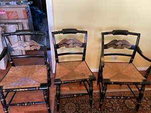 Vintage Hitchcock Black Eagle Chairs with gold trim and rush seats