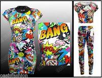 KIDS GIRLS BANG ZAP COMIC BOOK PRINT MIDI DRESS LEGGINGS PANTS  CROP TOP T-SHIRT