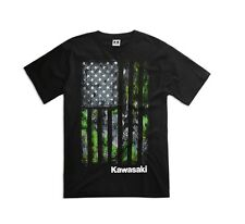 Kawasaki Camo Flag S/S T-Shirt - Size X-Large - Genuine Kawasaki - Brand New