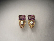 Gorgeous 14K Yellow Gold Amethyst MOP Mabe Inlaid Earrings
