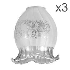 3 X in VETRO di ricambio tradizionale Luce Da Soffitto Tonalità scolpite Floreale Motivo