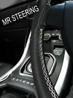 FOR RILEY RM SERIES 1945-1955 LEATHER STEERING WHEEL COVER WHITE DOUBLE STITCH