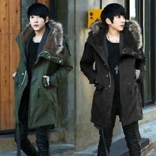 Korean Men's Fur Collar Hooded Winter Thicken Slim Trench Long Coat Jacket Parka
