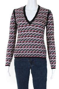 Missoni Orange Label Womens Abstract V Neck Knit Sweatshirt Multicolored IT 44
