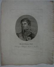 Michel Ney (1769-1815) Französischer Marschall Napoleons Orig Punktierstich 1820