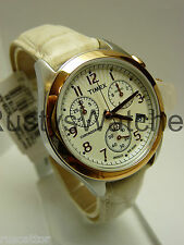 TIMEX LADIES STAINLESS CHRONOGRAPH / ROSEGOLD TONE BEZEL WATCH T2N232 tag$119.95
