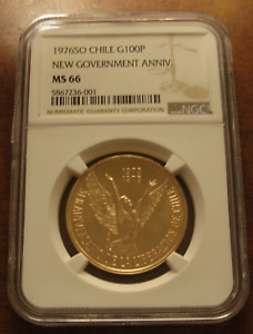 Chile 1976 So Gold 100 Pesos NGC MS66 3rd Anniversary of New Government