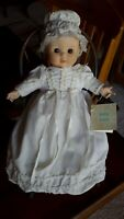 """Russ Berrie Baby Love 10"""" Porcelain White Dress Baby Girl Doll With Tag"""