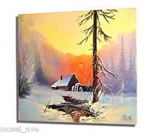 "Ölgemälde Keilrahmen 60x50 Leinwand Handarbeit Winterlandschaft ""Siberia"" Snow"
