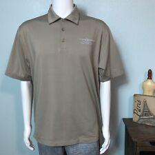 Nike Golf FitDry Men's MEDIUM Executive Flight Services Beige Tan Polo Shirt