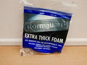 STORMGUARD 3.5M EXTRA THICK SELF ADHESIVE FOAM DRAUGHT SEAL WHITE