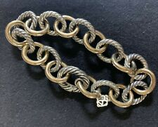 David Yurman sterling silver and 18k gold large 12mm oval link bracelet 8.5