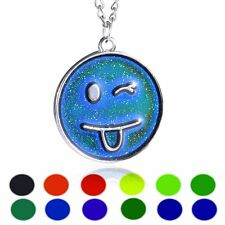 Smile Face Emoji Thermo Mood Changing Color Pendant Choker Necklace Men Unisex