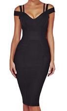 Herve Leger Bodycon Bandage Cocktail Dress Black Sexy V Neck  C24 **L