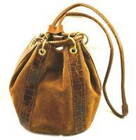 Vintage Joseph B. Exclusive NY Bucket Handbag Purse Draw-String Suede Alligator