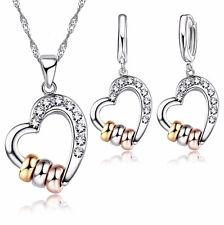 Conjunto Collar y pendientes Corazón con tres anillos, regalo para mujeres