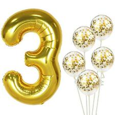 Gold Birthday Number 3 Foil Balloon Bouquet (Pack of 6pcs)