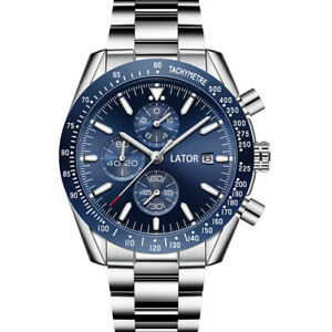MENS LATOR CALIBRE CHRONOGRAPH WATCH BLUE DIAL STAINLESS STEEL STRAP