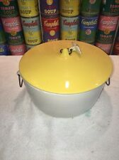 Large Lagardo Tackett Schmid Ironstone Toggle Handled Yellow & White Casserole