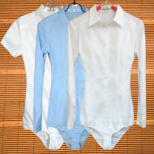 Ladies Short Long Sleeve Bodysuit Shirt Business Blouse Button Down Office Tops