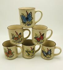 6 Viking Butterfly Stoneware Mugs