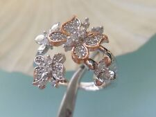 BUTTERFLY Crystal RING, Size 8 Very Pretty   Rhodium Plated with Rose Gold Pt
