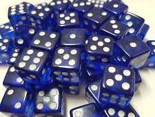 10Pcs Transparent Six Sided Spot Dice Toys D6 RPG Role Playing Game Blue 16mm
