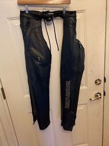Women's Harley Davidson Black Leather Chaps XS White Embroidery