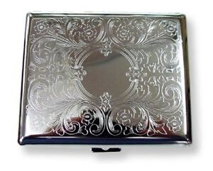 Victorian Style Cigarette Metal Case Double Sided King & 100s Etched Pattern L