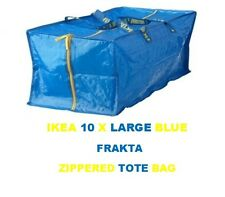 NEW IKEA 10  X LARGE BLUE FRAKTA ZIPPERED TOTE STORAGE LAUNDRY BAG