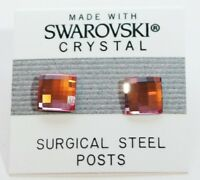 Pink Square Stud Earrings 8mm Crystal Made with Swarovski Elements Gift