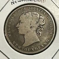 1900 NEWFOUNDLAND SILVER 50 CENTS QUEEN VICTORIA