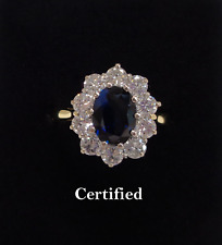 Fine Large Sapphire and Diamond Cluster Ring 750 18ct Yellow Gold - Size N 1/2