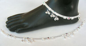 Handmade 925 Pure Silver Indian Payal Anklet Pair 44.8 Gram 10.5''  AF 12