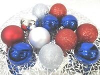 """Americana Patriotic 4th of July Red Silver Blue Shatterproof Ornaments 2.5"""" S/12"""
