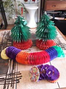 VTG 50s XMAS HONEYCOMB PAPER APEX TREE DECORATIONS HARLEY-QUIN GARLANDS X 4