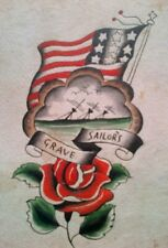 SAILORS GRAVE -RARE UNIQUE ORIGINAL 1920-30s CLASSIC  BOWERY TATTOO FLASH SHEET