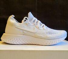 Nike Epic React Flyknit FK Triple White Running Shoes AQ0067-102 Men's Sz 8.5