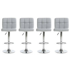Set of 4 Bar Stools Leather Adjustable Swivel Pub Chairs Counter Height US
