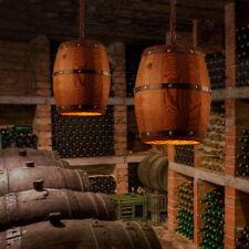 Retro Industrial Wood Wine Barrel Hanging Fixture Ceiling Pendant Lamp Bar Light