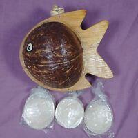 New Fancy Coconut Shell Sea Fish Bobble-Head Wind Chime