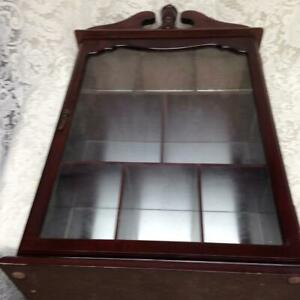 Vintage, Wooden Display  or Curio Cabinet- 25in x15in x 6in